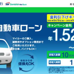 住信SBIネット銀行「Mr.自動車ローン」の仮審査に申し込んだ結果と感想